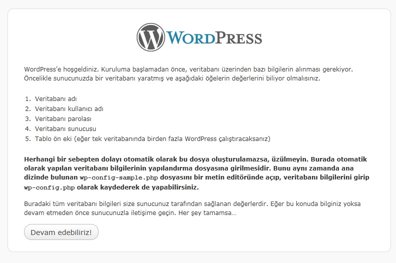 Wordpress ana kurulum ekranı