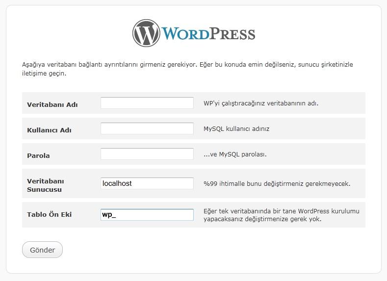 wordpressi mysql veritabanı ile bağlama